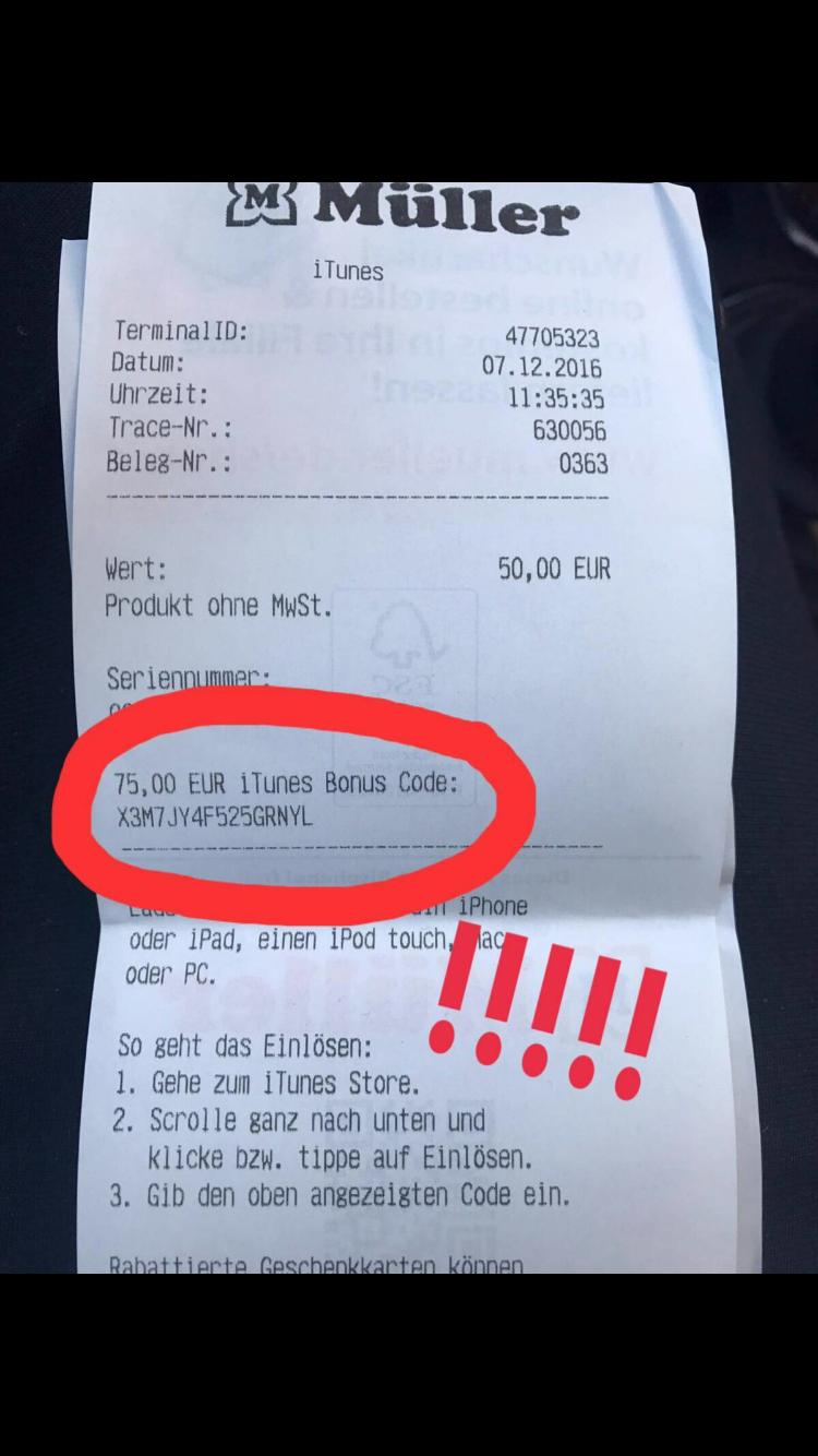 Müller 50€ ITunes Karte kaufen und 75€ zusätzlich bekommen!