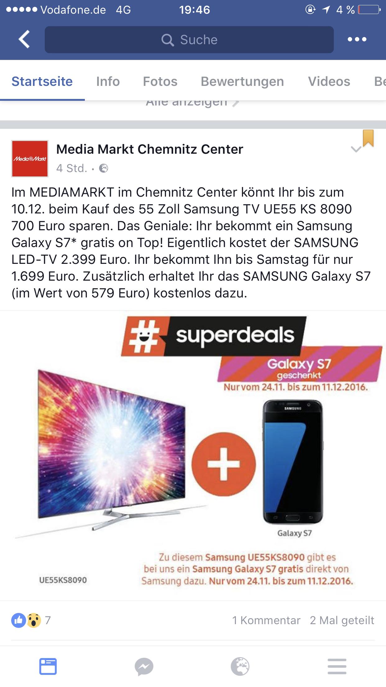 Samsung UE55KS8090 1699€ statt 1949€ im MediaMarkt Chemnitz Röhrsdorf
