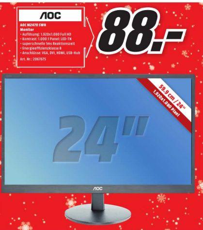[Lokal Mediamarkt Berlin und Umgebung] AOC M2470SWH 59,9 cm (23,6 Zoll) MVA-Monitor (VGA, 2xHDMI, 1920 x 1080, 60 Hz, 1ms Reaktionszeit) schwarz für 88,-€