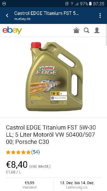 (vermutlich preisfehler) ABGELAUFEN Castrol EDGE Titanium FST 5W-30 LL