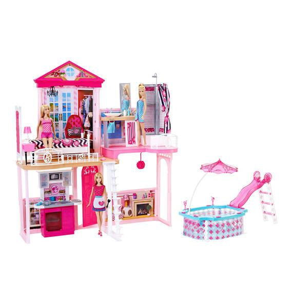 BARBIE Wohnhaus mit Möbel, Pool & 3 Barbie Puppen für 79,99€ (galeria-kaufhof)