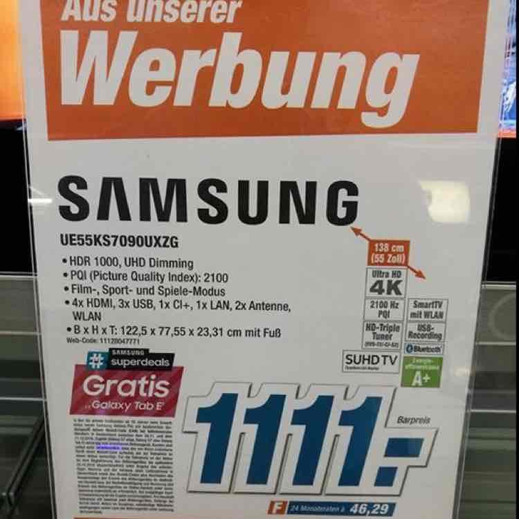Samsung 7er Serie (UE55KS7090)für den schmalen Geldbeutel