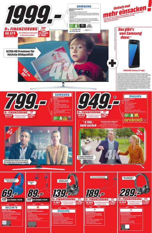 (LOKAL) Media Markt Kiel - Samsung UE65KS8090 + Samsung Galaxy S7 Edge als Cashback
