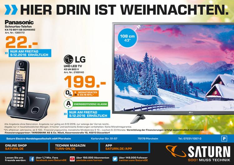 [Lokal Saturn Pforzheim am 09.12] LG 43UH603V UHD, 43 Zoll, SMART TV, Triple Tuner, HDR Pro