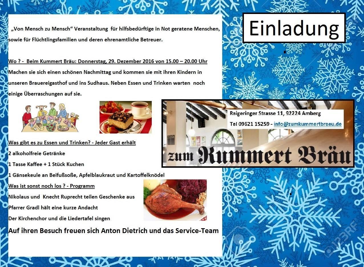 [Lokal-Amberg] 29.12.16 Kostenloses Essen und Trinken f. hilfsbedürftige, in Not geratene Menschen, Flüchtlingsfamilien und deren Betreuer