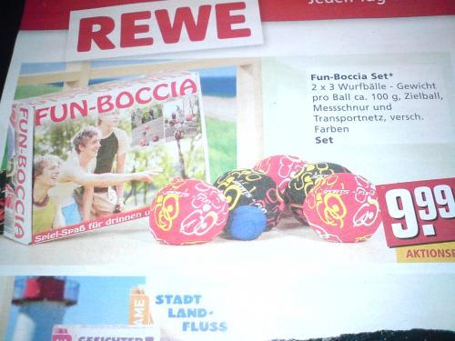 Günstig schlank werden: 6 Bälle CrossBoule FunBoccia ab Mo 21.5.12 für 9,99€ bei REWE
