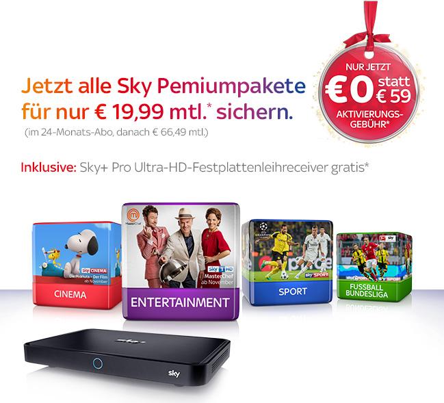 Sky wieder Verfügbar Neukunden komplett mit UHD 29.99 oder ohne HD 19.99