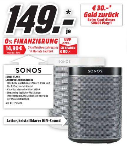 [Lokal Mediamarkt Amberg und Weiden] SONOS PLAY:?1, Smart Speaker für Wireless Music Streaming, Schwarz oder Weiß, Multiroom/?Smart Speaker für je 149,-€