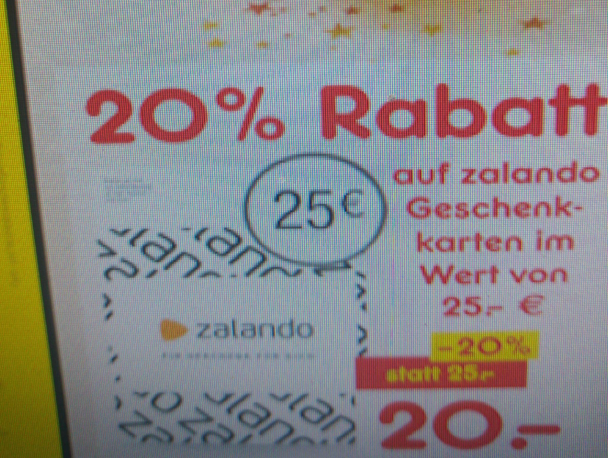 Zalando Geschenkkarte 25€ für 20€ ab 12.12 bei Netto