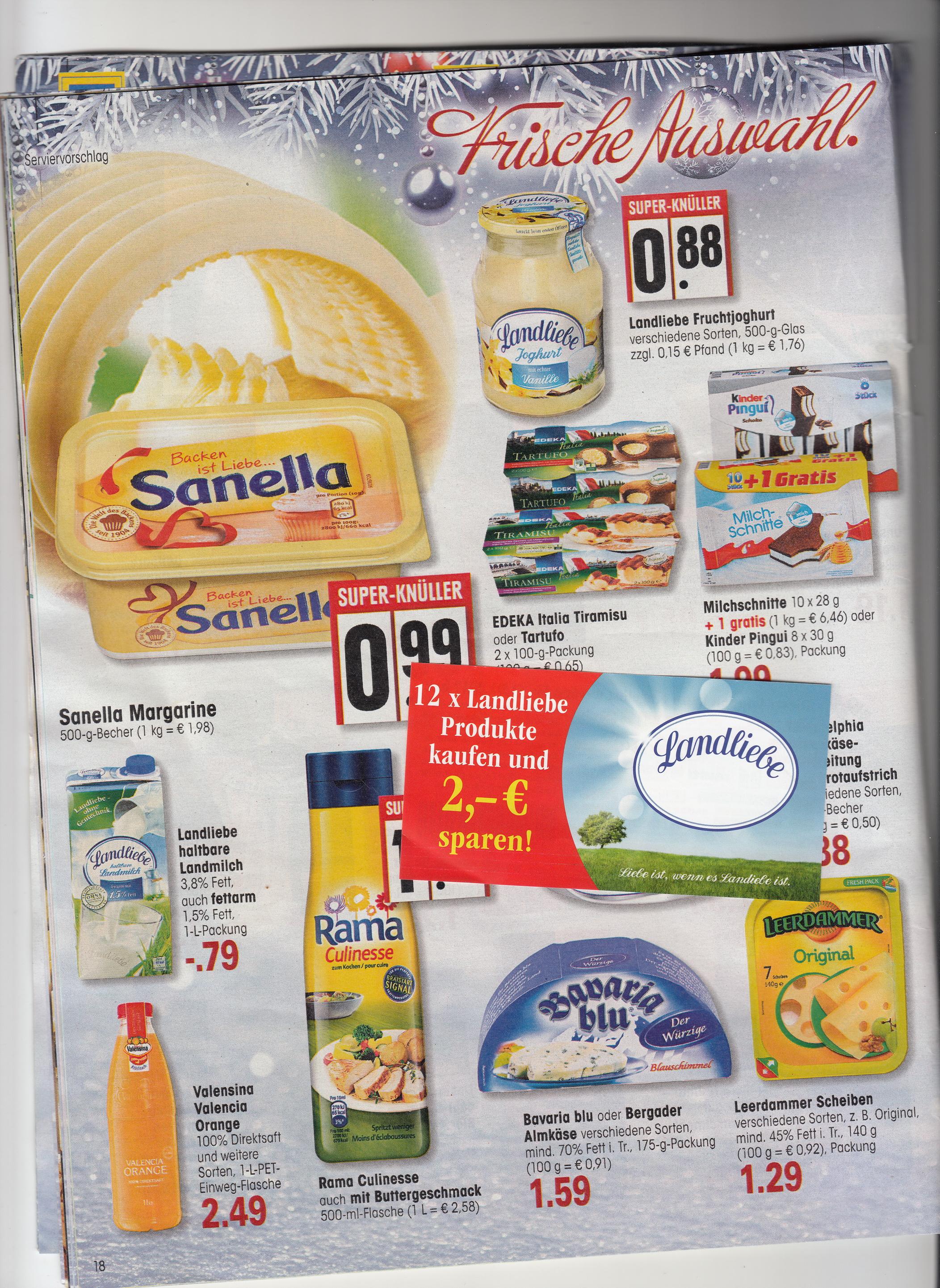 EDEKA -  Landliebe Milch 1 Liter für 0,63 Euro bei kauf von 12 x 1 L