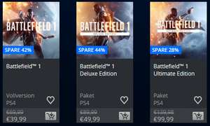 [PSN] Battlefield 1 PS4 39,99€ (Deluxe Edition 49,99€, Ultimate Edition 99,99€)