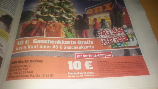 (lokal Dachau) 10 Eur Geschenkkarte gratis Beim Kauf Einer 40euro OBI Geschenkkarte
