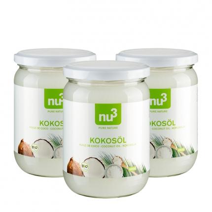 3x nu3 Bio Kokosöl jeweils 490ml für nur 23,79€ (7,93€ pro Glas)