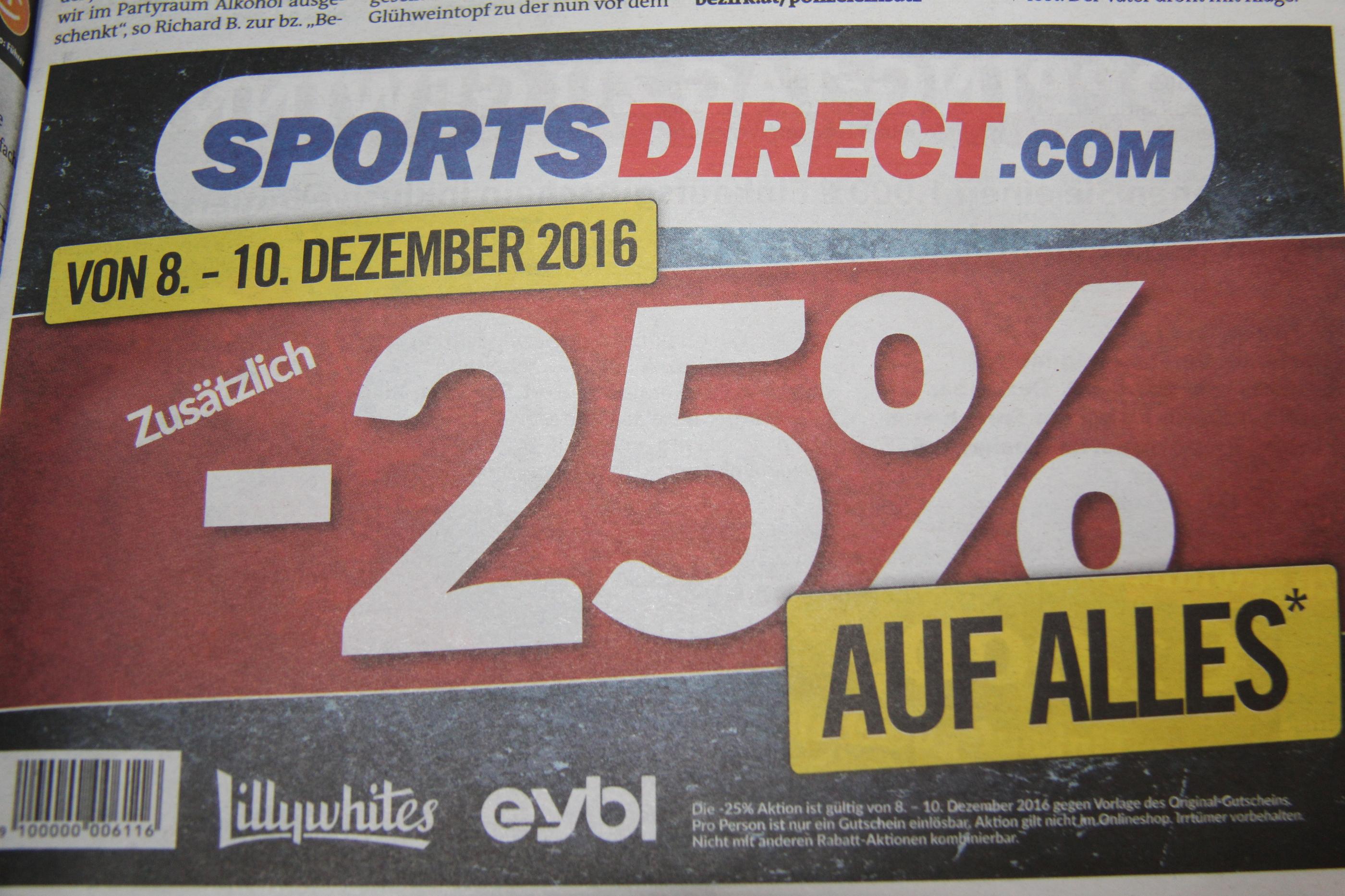 25% auf ALLES bei SportsDirect (nicht Online)