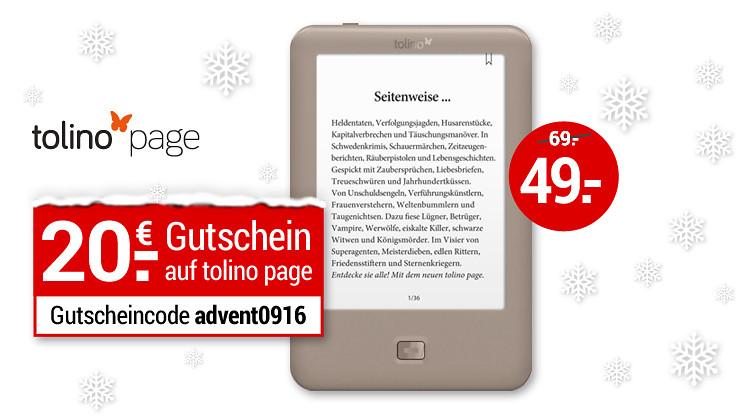 tolino page eBook-Reader für 49€ [Weltbild]