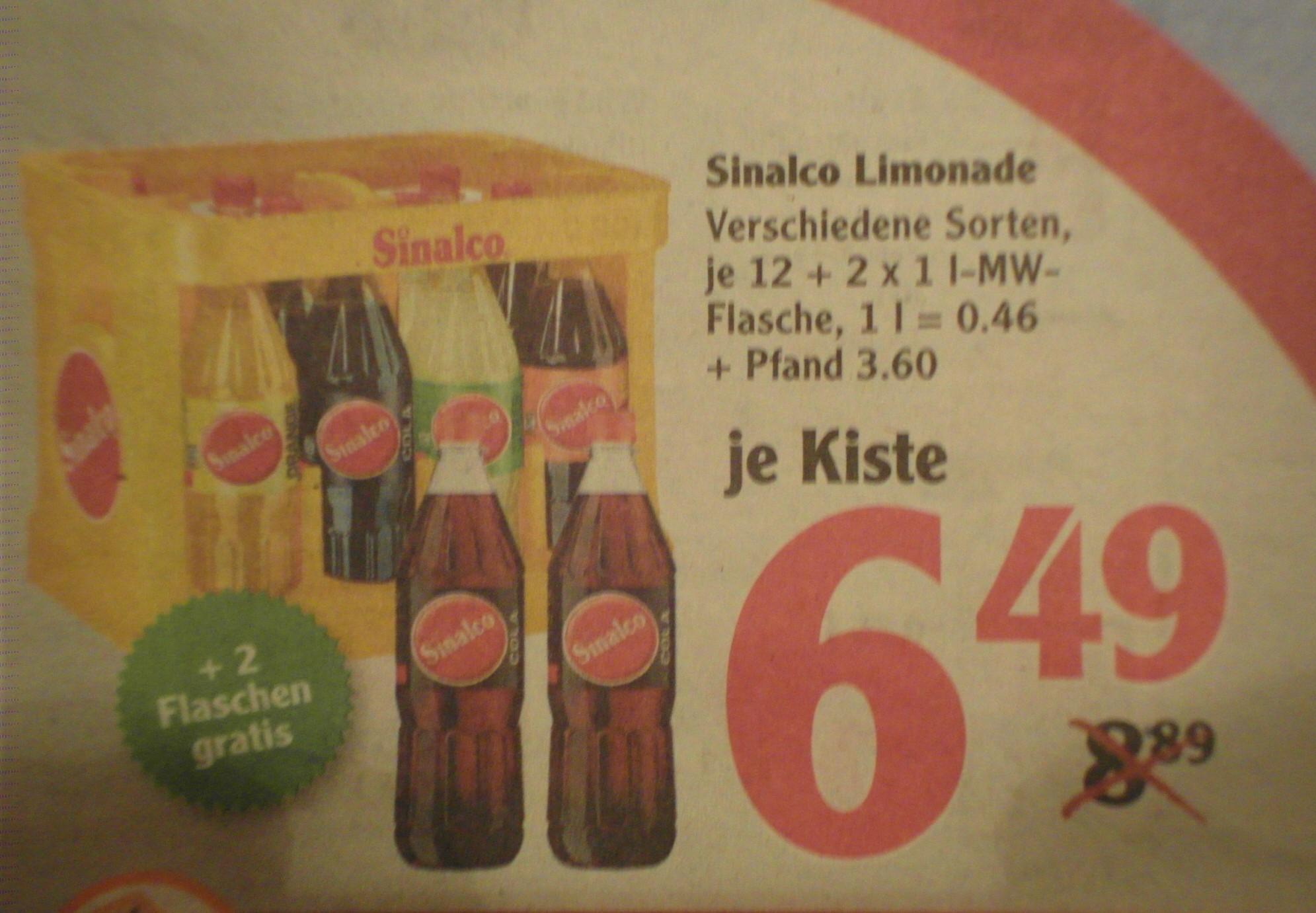 [Globus] Sinalco Limonade, verschiedene Sorten, 12 x 1l plus 2 Flaschen Gratis für 6,49 Euro