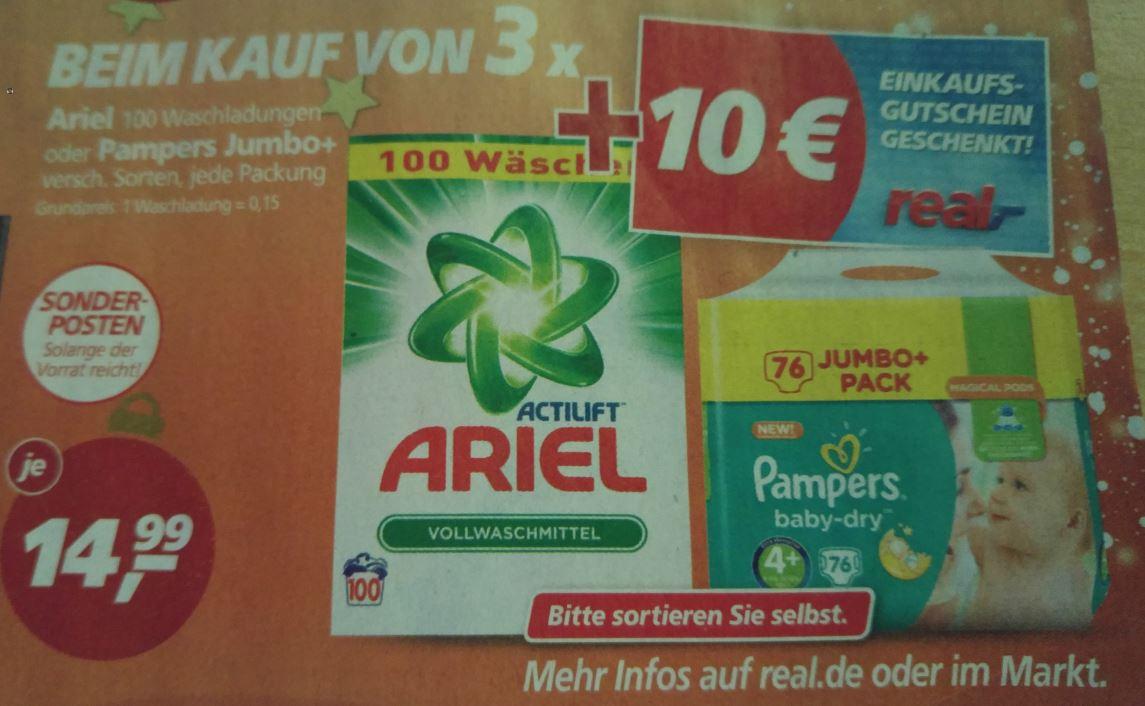 [REAL] Pampers Jumbo+ 14,99€ UND 10€ REAL Gutschein bei 3 Packungen UND 25€ Gutschein-Cashback ab 100€ Windeleinkauf
