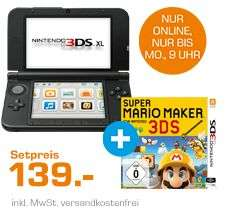 Nintendo 3DS XL(NICHT die NEW Version) Blau/Schwarz & Super Mario Maker 3DS für 139,99€ Versandkostenfrei [Saturn Weekend Deals]