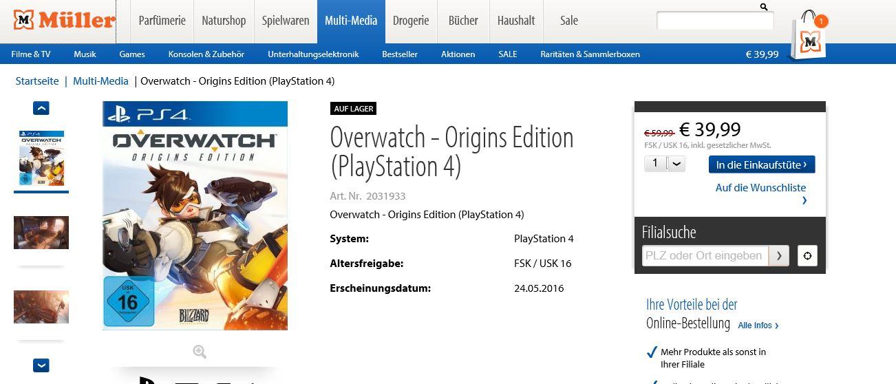 Müller Adventskalender Overwatch PS4 für 19,99 in der Filiale möglich