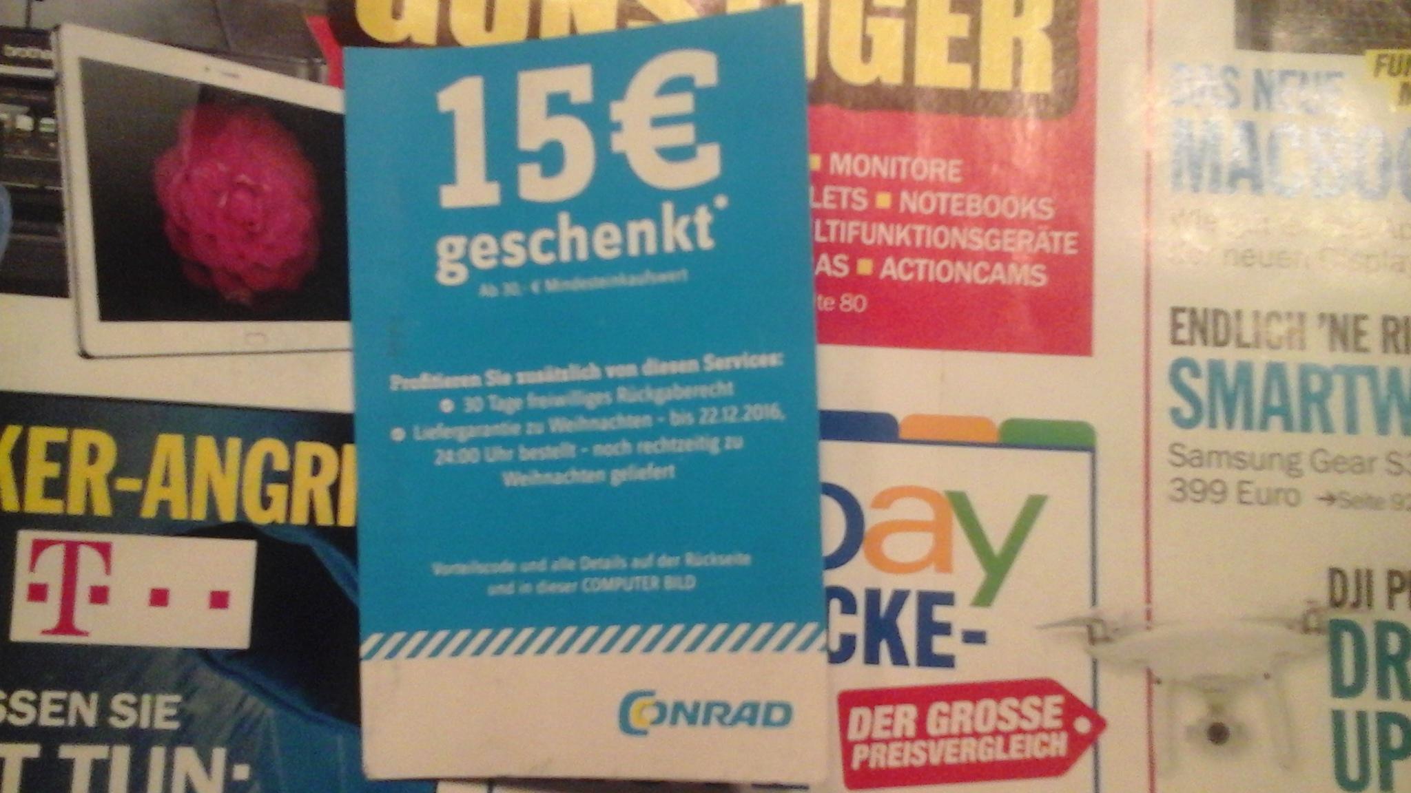 Conrad 15€ Gutschein in der aktuellen Computerbild -MBW nur 30€ -online oder offline einzulösen