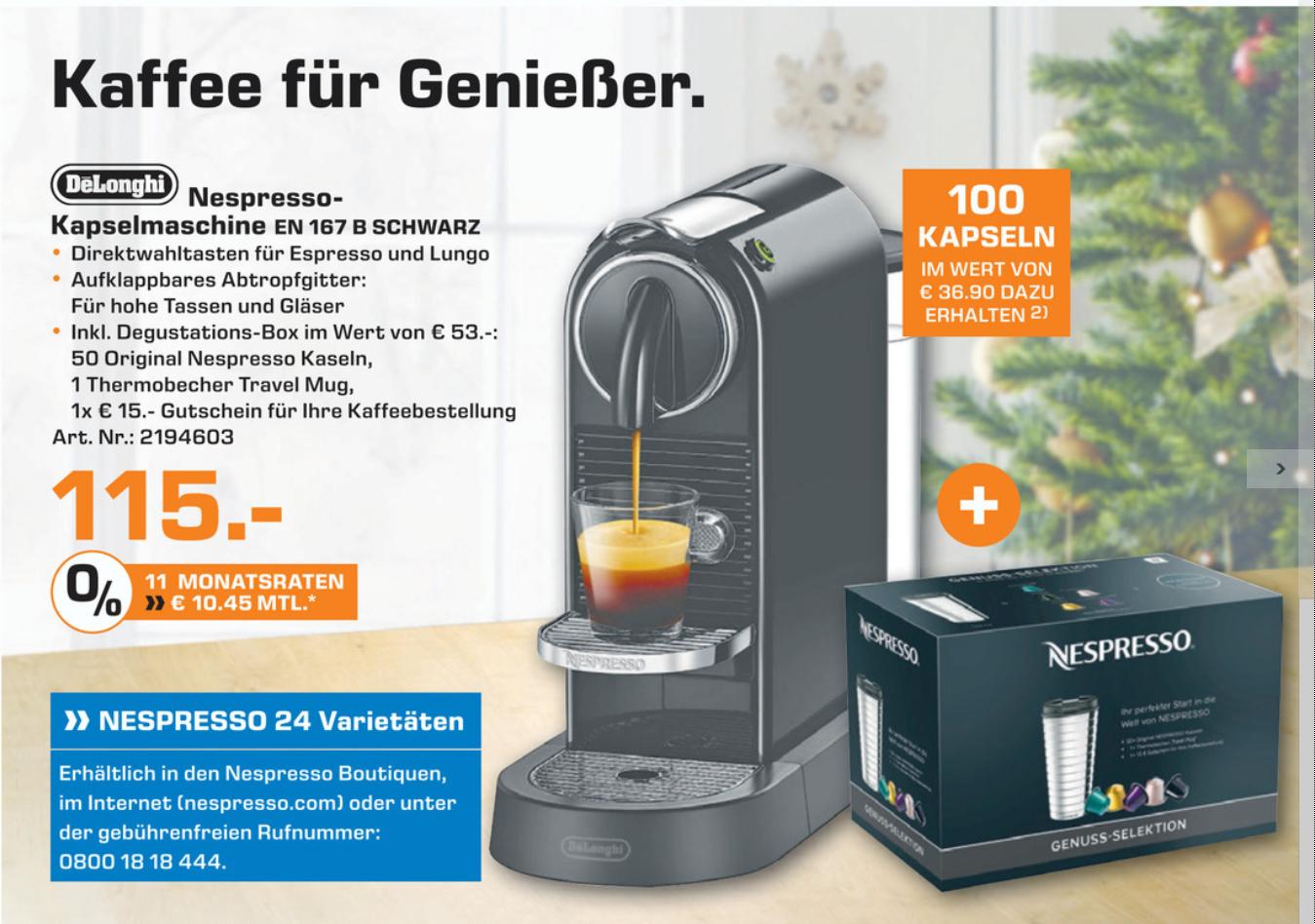 (SATURN) Nespresso New Citiz EN 167 B / W + 150 Kapseln + Thermobecher + 15€ Gutschein