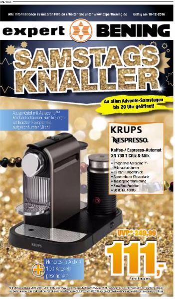 [Expert-Bening] Krups Nespresso XN 730 T Citiz & Milk, 111€ + 100 Kapseln gratis, offline
