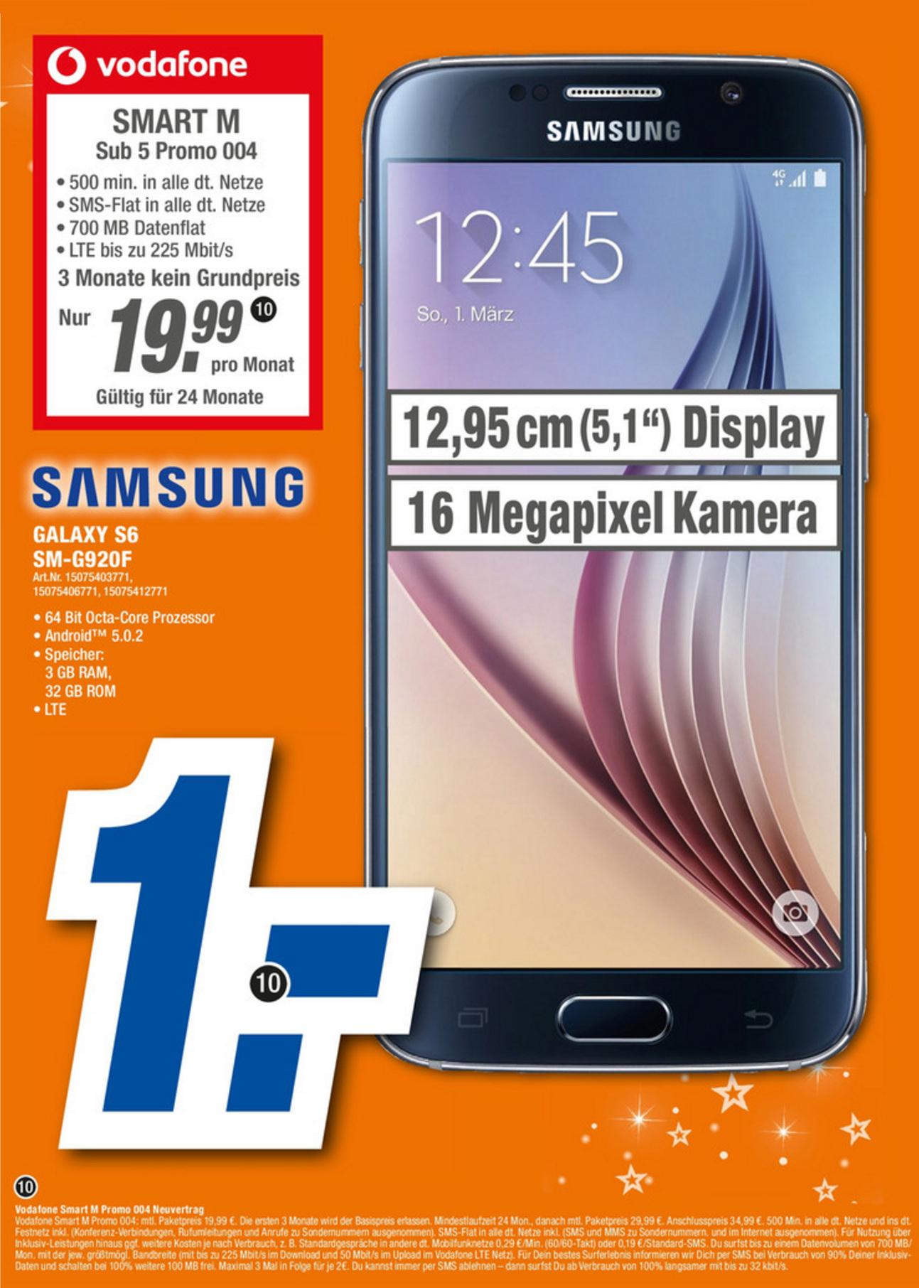 [expert Franken] Vodafone Smart M (500min, 700MB LTE, SMS-Flat) inkl. Galaxy S6 für 19,99€/Monat