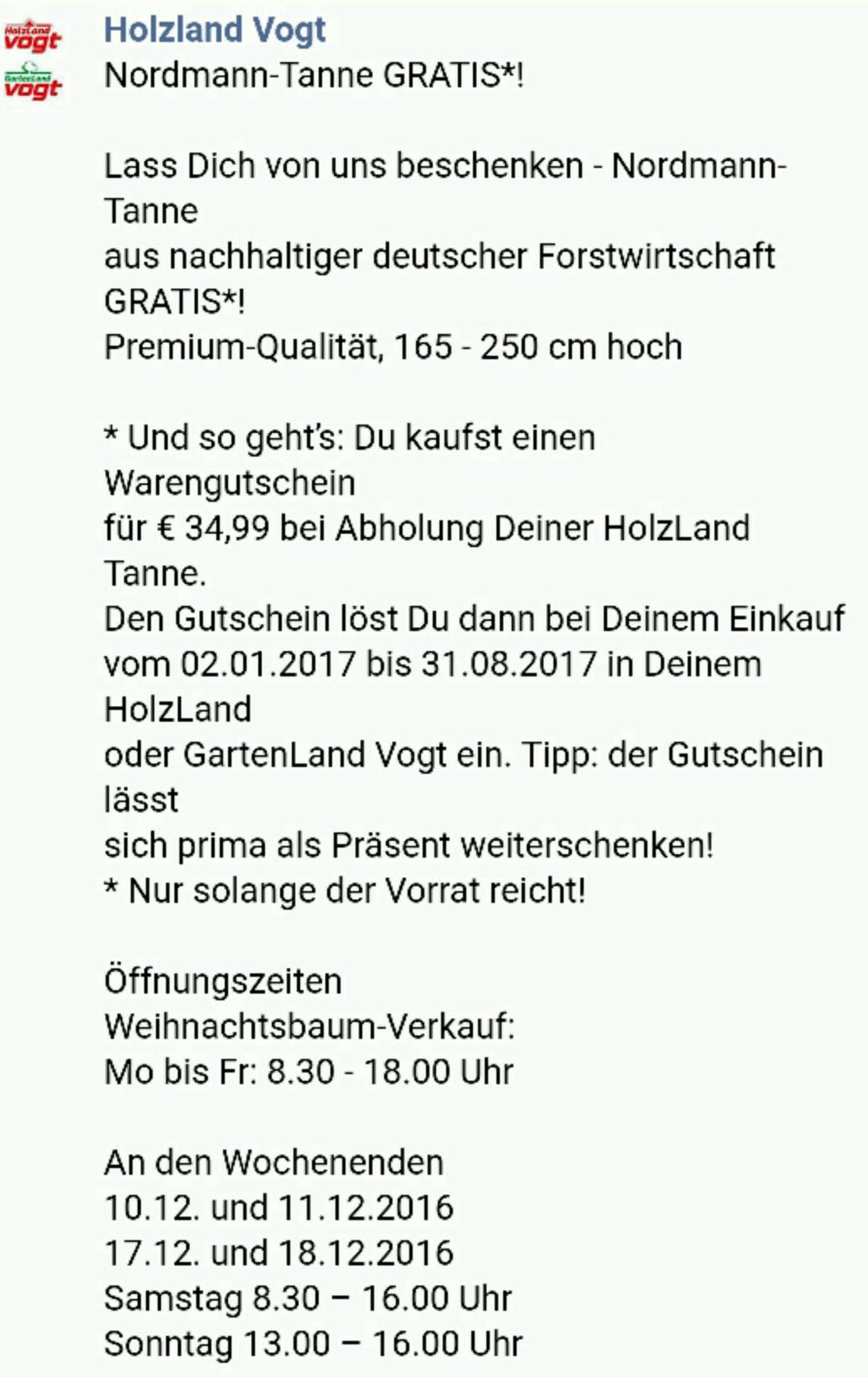 (lokal OL) Holzland Vogt - Nordmann Tanne gratis bei Kauf eines 35€ Gutscheins