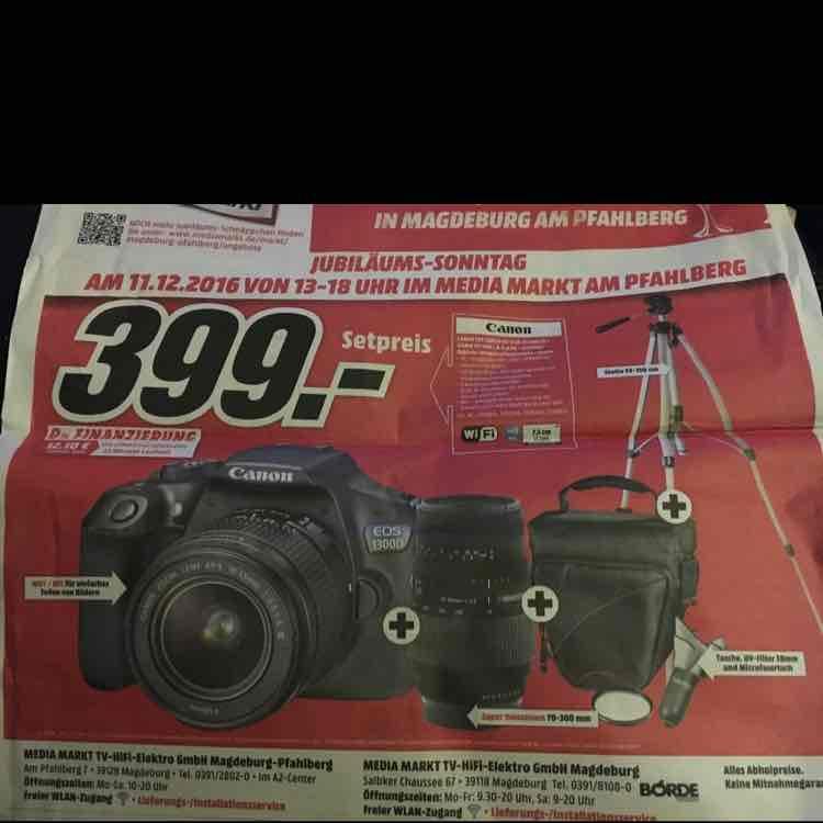 [Lokal Mediamarkt Magdeburg] Canon Eos 1300D Kit + Sigma 70-300 mm + Tasche + Stativ