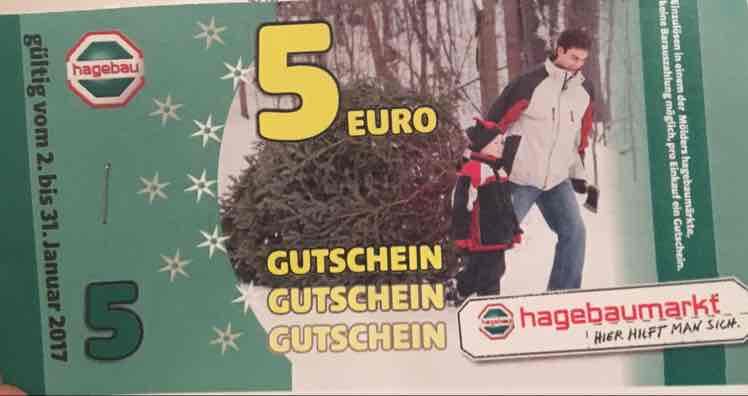[evtl Lokal] Hagebau Weihnachtsbaum kaufen und 5€ Gutschein erhalten