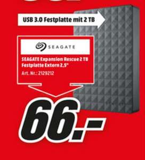 """(Lokal) Seagate Expansion Portable Rescue Edition 2TB 2,5"""" für 66€ (PS4 geeignet) @ Mediamarkt Aachen Eschweiler Herzogenrath Hückelhoven"""
