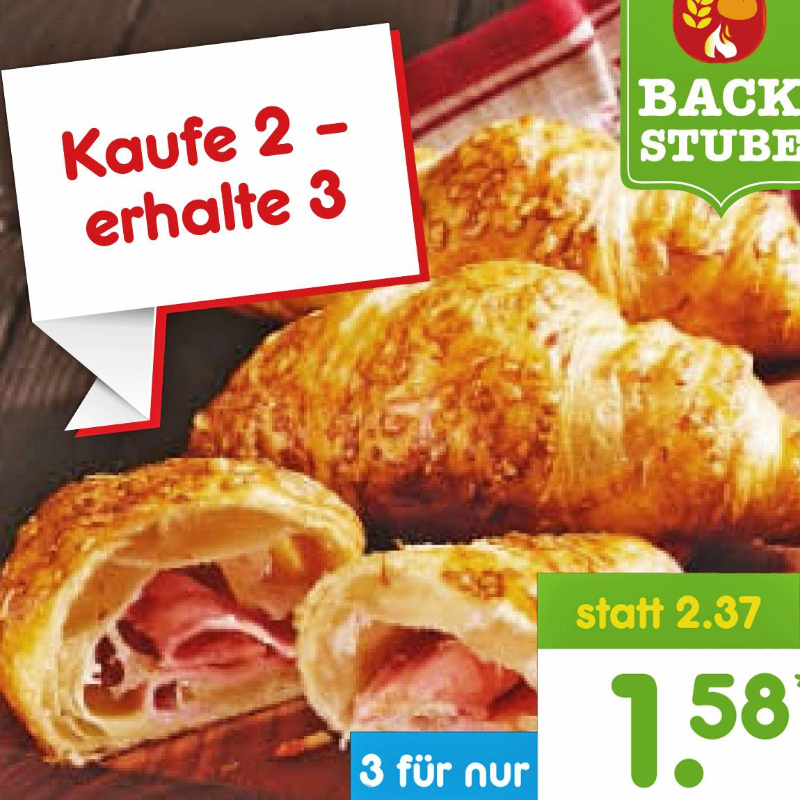 3-für-2 Schinken-Käse-Croissants, Laugenstangen und Donuts aus dem Backofen bei [Netto MD]