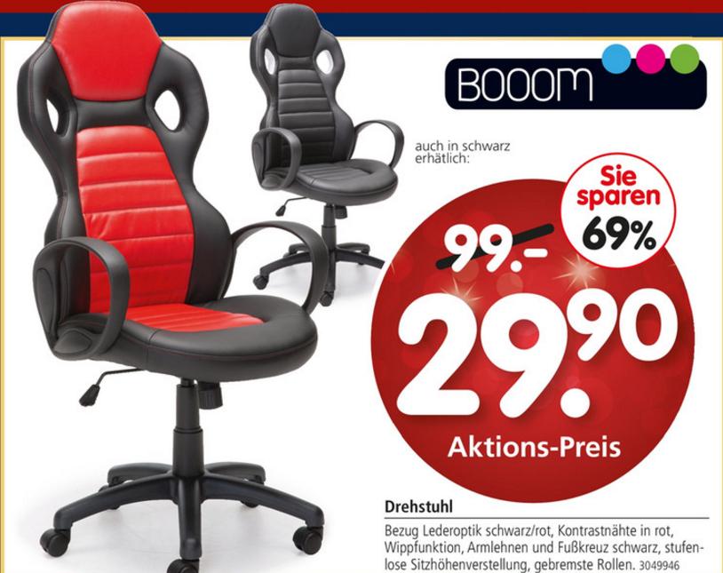 Booom Büro-Drehstuhl in schwarz-roter / schwarz-schwarzer Lederoptik für nur 29,90€ [Segmüller]