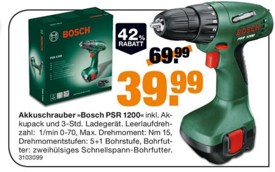 Bosch PSR 1200 für nur 39,99€  [Megastore by Segmüller]