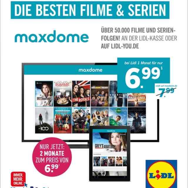 Maxdome über Lidl 2 Monate für 6,99