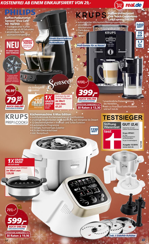 [Offline Bundesweit] Küchenmaschine Krups Prep & Cook X-Mas Edition mit Dampfgaraufsatz UND Shred Slice (Schnitzelaufsatz) 599 Euro PVG 631,26 @real