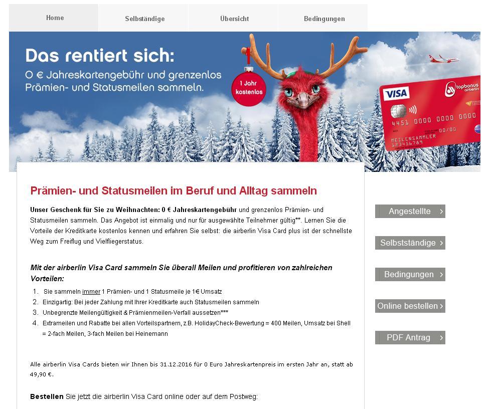 Die airberlin Visa Card  0 € Jahreskartengebühr im ersten Jahr kostenlos!