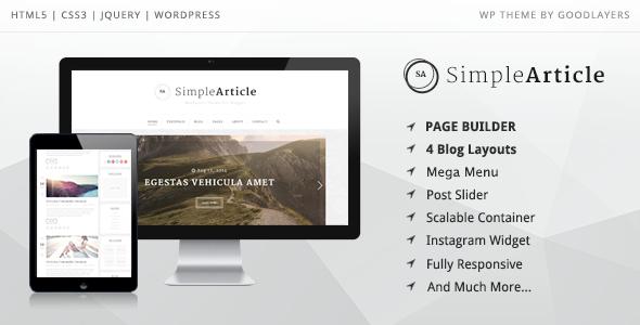 Simple Article - WordPress Theme für 0,00$ statt 49,00$