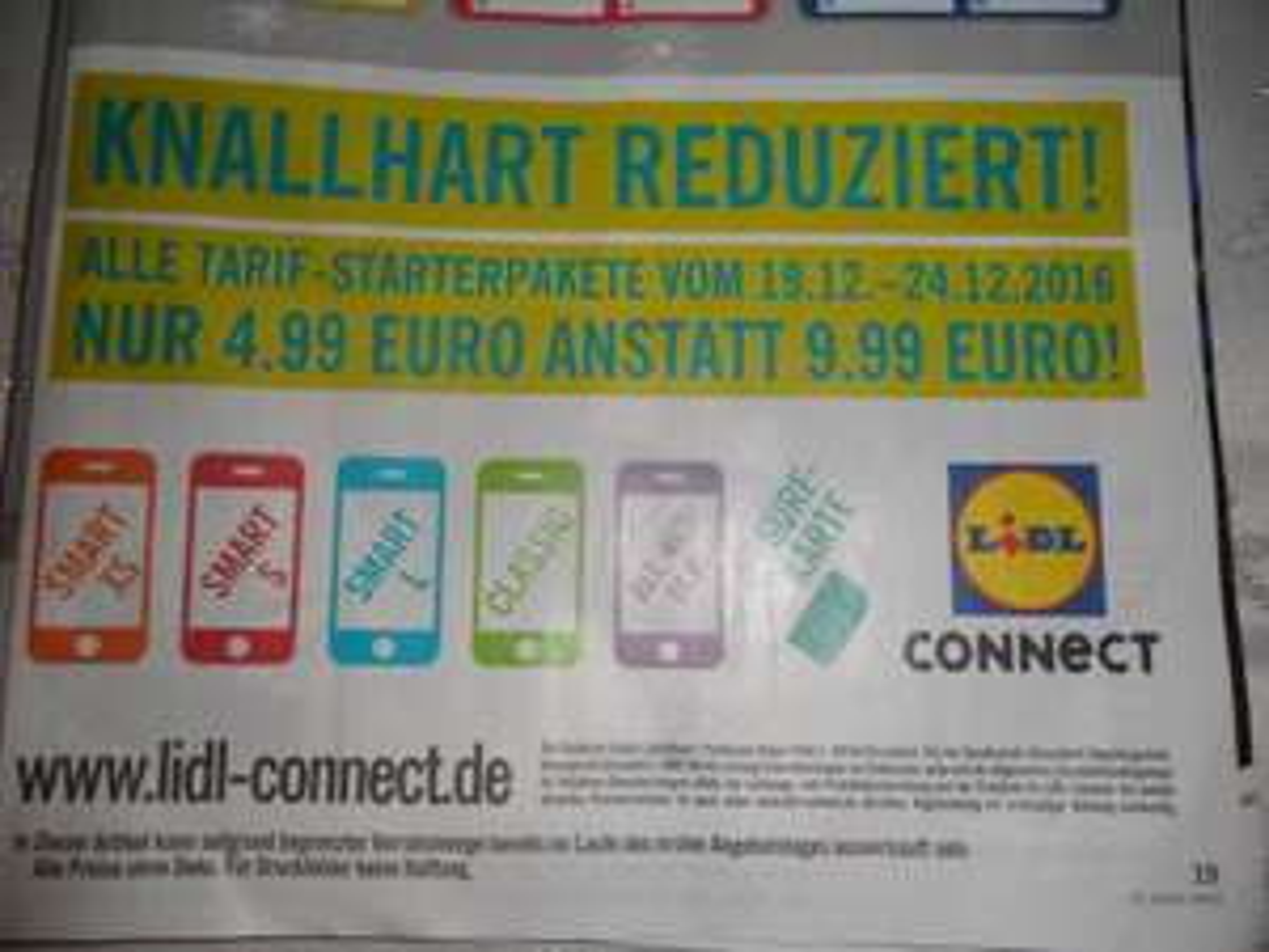 (Lidl Bundesweit & Online) 50% auf ALLE D2 Lidl Connect Prepaid Karten vom 19.-24.12 für 4,99 statt 9,99