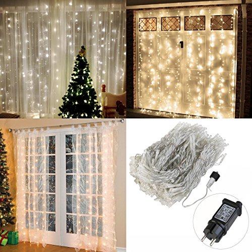 3m x 3m Lichtervorhang mit 300 LED Warmweiß für 14,99€