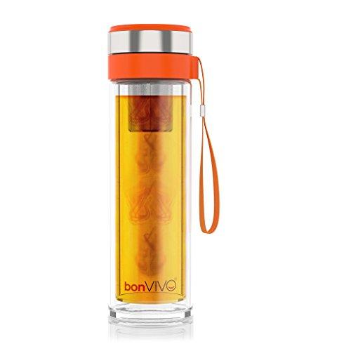 bonVIVO VitaliTEA Glas-Trinkflasche mit Thermo-Funktion und Tea-Filter, 0,45 Liter [Amazon Versand]