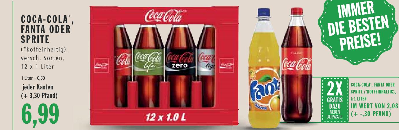 [Markthalle lokal Krefeld] Kiste Coca-Cola, Fanta oder Sprite + 2 Flaschen geschenkt für 6,99€