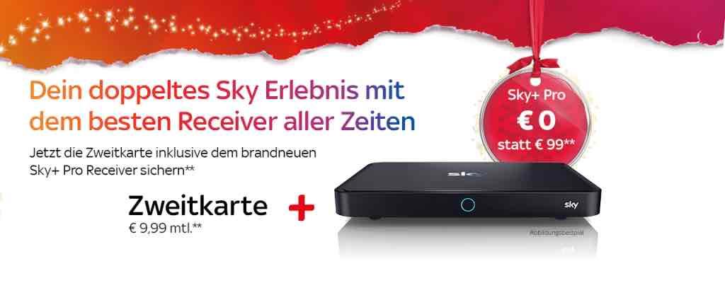 Sky Zweitkarte inkl. Sky+ pro Reciever mit 1TB