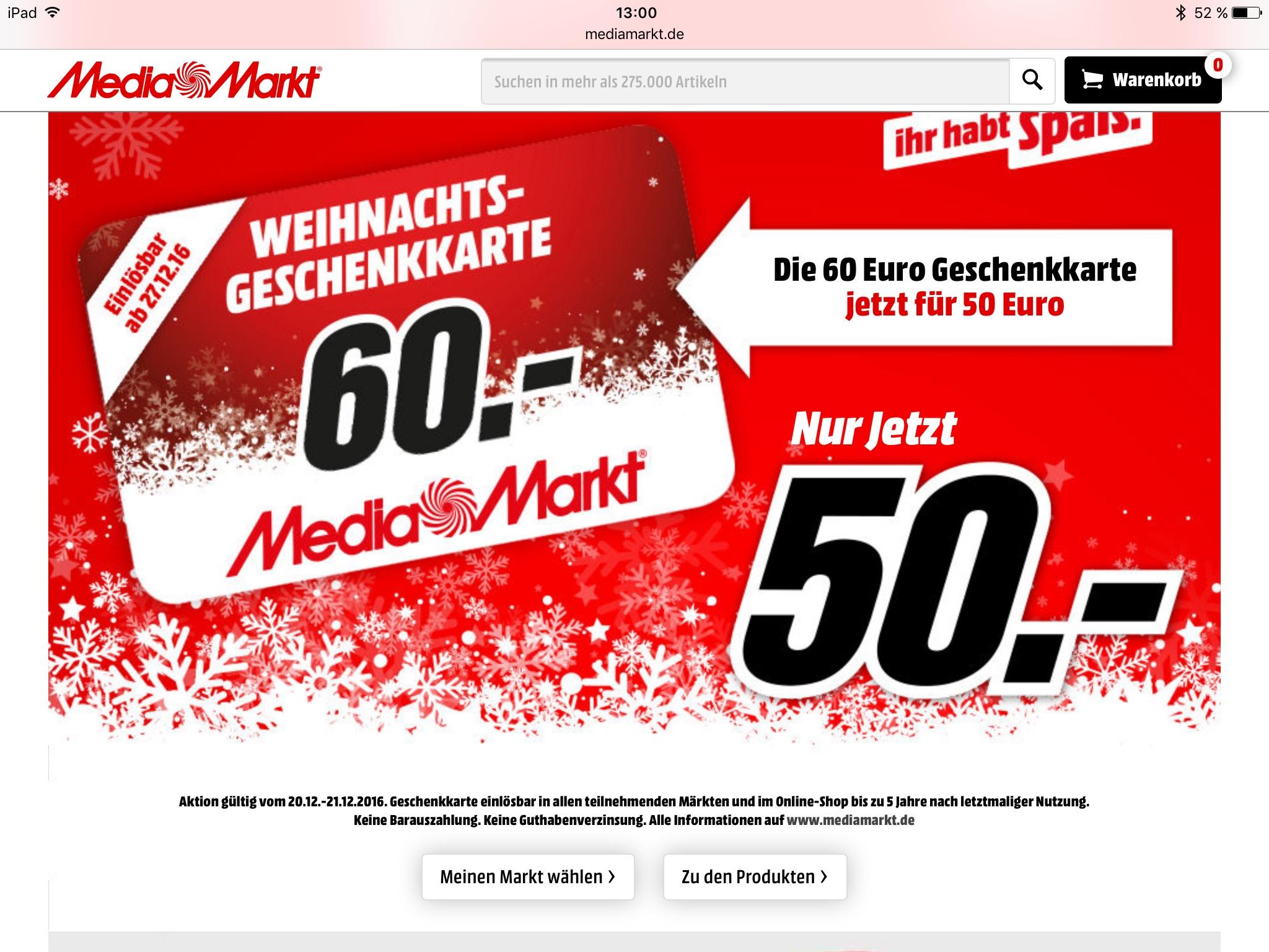 Geleakte Mediamarkt Geschenkkarten Aktion 2016 [20.12. - 21.12.]