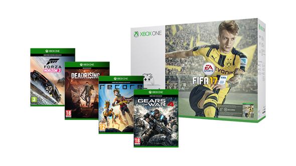 Xbox One S 500GB + Fifa 17 + Gears of War 4 + Forza Horizon 3 + Dead Rising 4 + Recore + 1 Monat EA Access für 299€ [Microsoft Store]