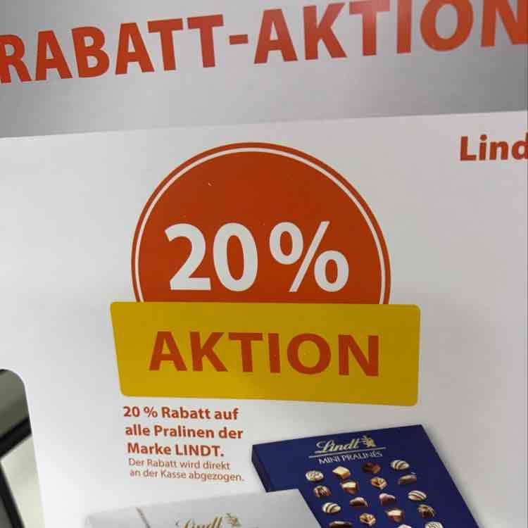 Müller 20% auf lindt Pralinen.