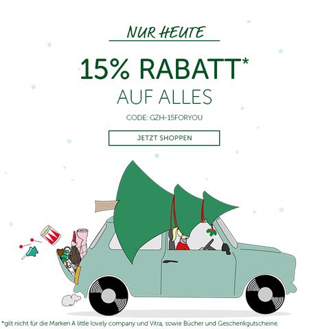 15% Rabatt auf alles - auch auf Sale - bei Geliebtes Zuhause