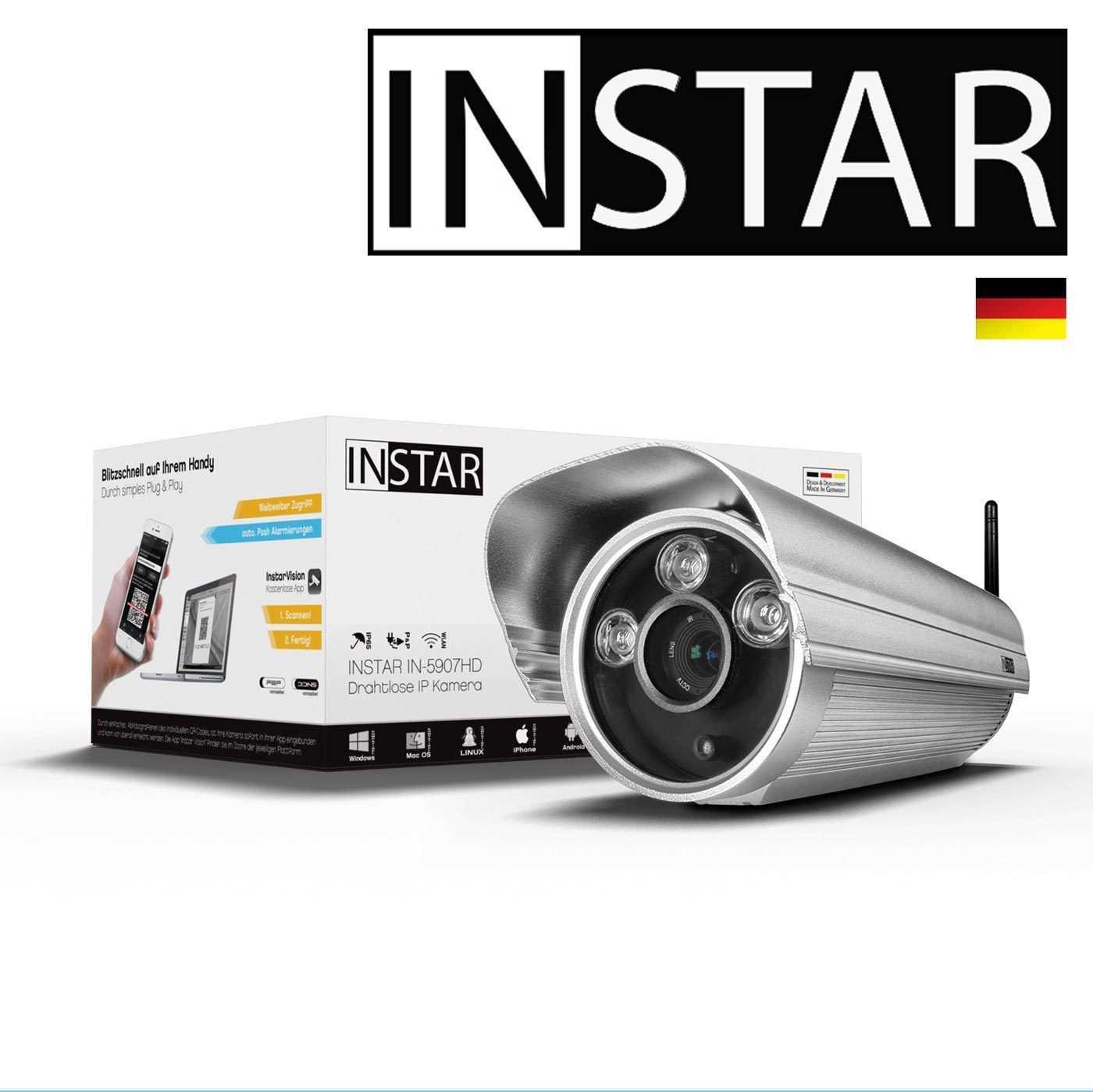 INSTAR IN-5907HD Wlan IP Kamera / HD Sicherheitskamera für Außen / IP Cam mit LAN & Wlan / Wifi für Outdoor (3 HighPower IR LEDs, Infrarot Nachtsicht, Wetterfest, SD Karte, Bewegungserkennung, Aufnahme, WDR) Silber
