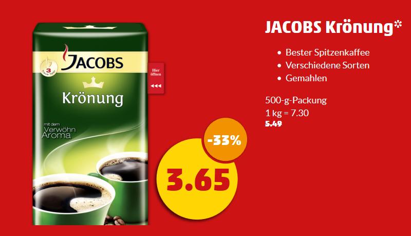 [PENNY] - Jacobs Krönung Kaffee gemahlen (500 g) für 3,65 ab heute (Montag, den 12.12)