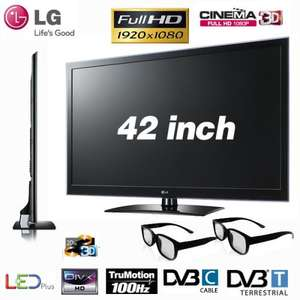 LG 42LW4500, Full-HD, 42 Zoll, Cinema 3D, LED, Full-HD, 100 Hz, DVB-T, DVB-C, CI+, 89 Watt  schwarz, für 519.- € bei Amazon